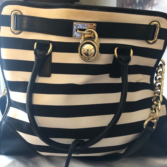 MICHAEL Michael Kors Handbags - Michael Kors Hamilton Tote lrg black white stripe